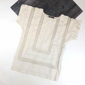 MaxMara Weekend Linen Lace Top Short Sleeve Size 6